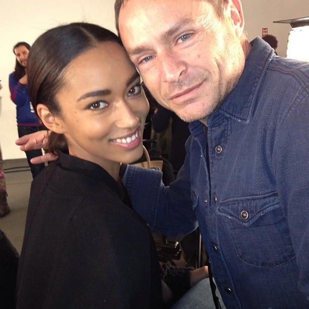 Makeup artist Tom Pecheux and model Anais Mali were all smiles backstage at Sophie Theallet.