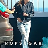 Julia styled her relaxed, ripped denim with sneakers and a bomber in June 2017 after a photo shoot in Malibu.