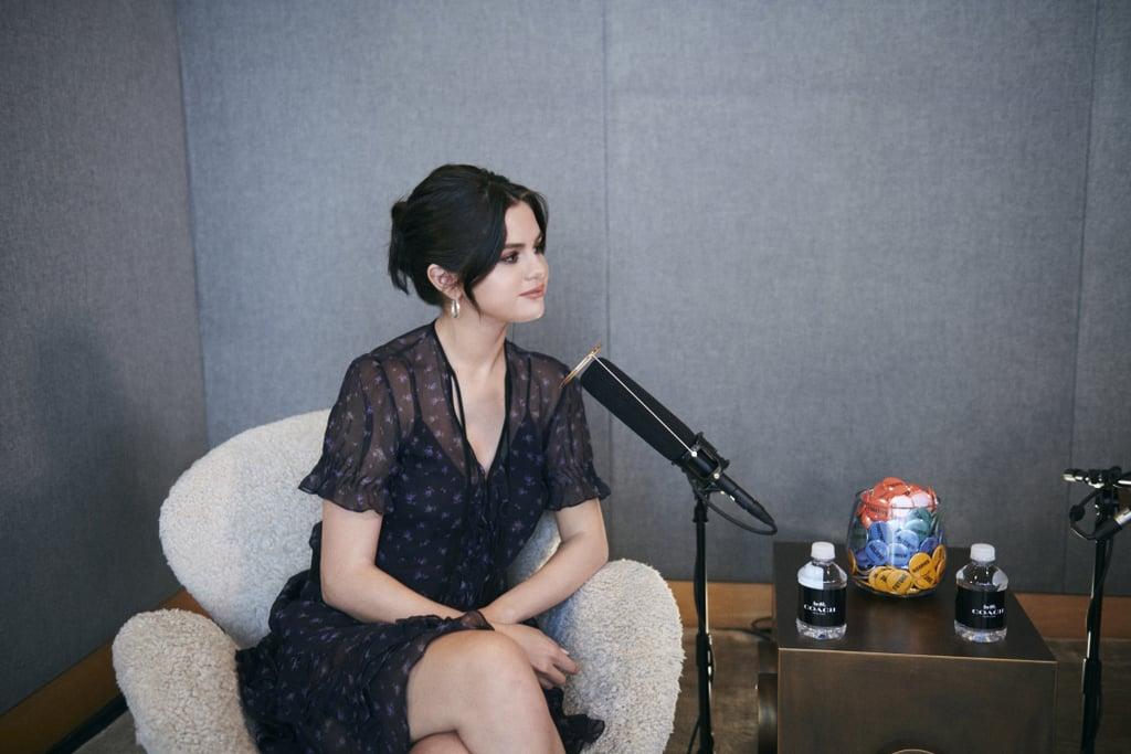 Selena Gomez's Black Floral Dress on Coach Podcast 2019
