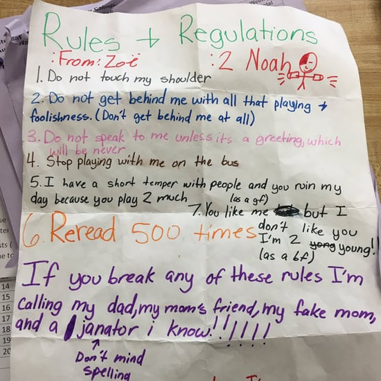 Fifth-Grade Girl's Rules and Regulations For a Boy