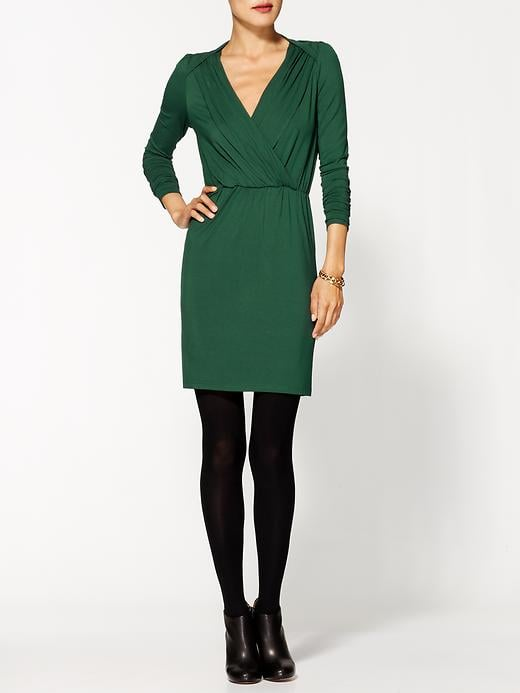 The emerald hue on this Hazel Long Sleeve V-Neck Dress ($94) gives it a rich, seasonal feel. Plus, it's sophisticated enough for the office festivities.