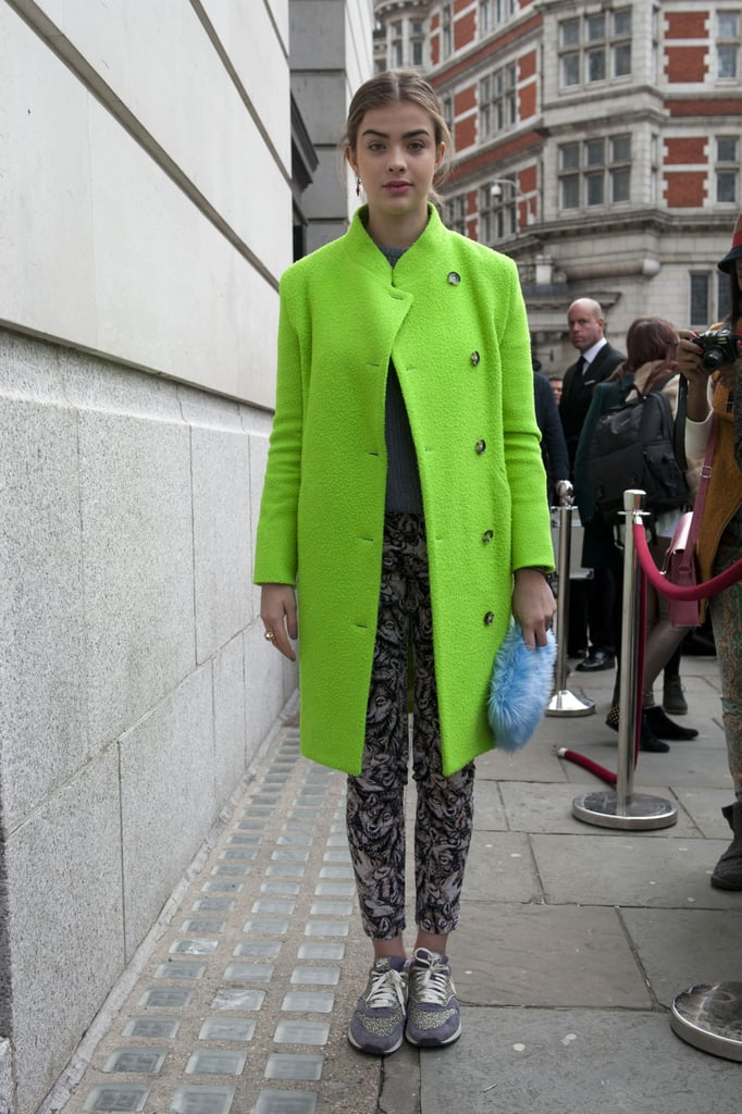 A lime-green coat gave trousers and cross-trainers a bold contrast.