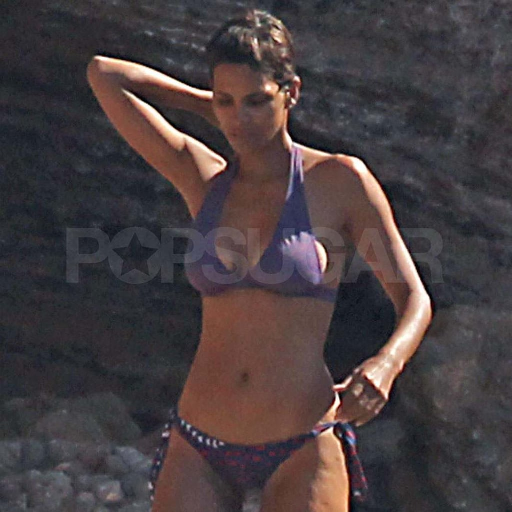 Halle Berry in a purple bikini in Spain.