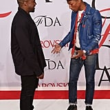 Kanye wore his own design to the CFDA Awards on June 1. Pharrell Williams was clearly a fan.