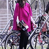 Zooey Deschanel Gets Sporty in Stripes on the Set of New Girl