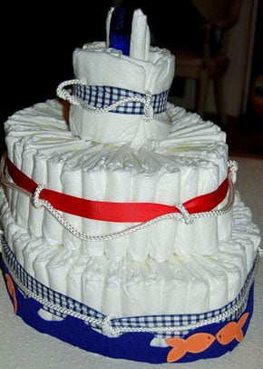 Diaper Cake Suited For a Wee Sailor