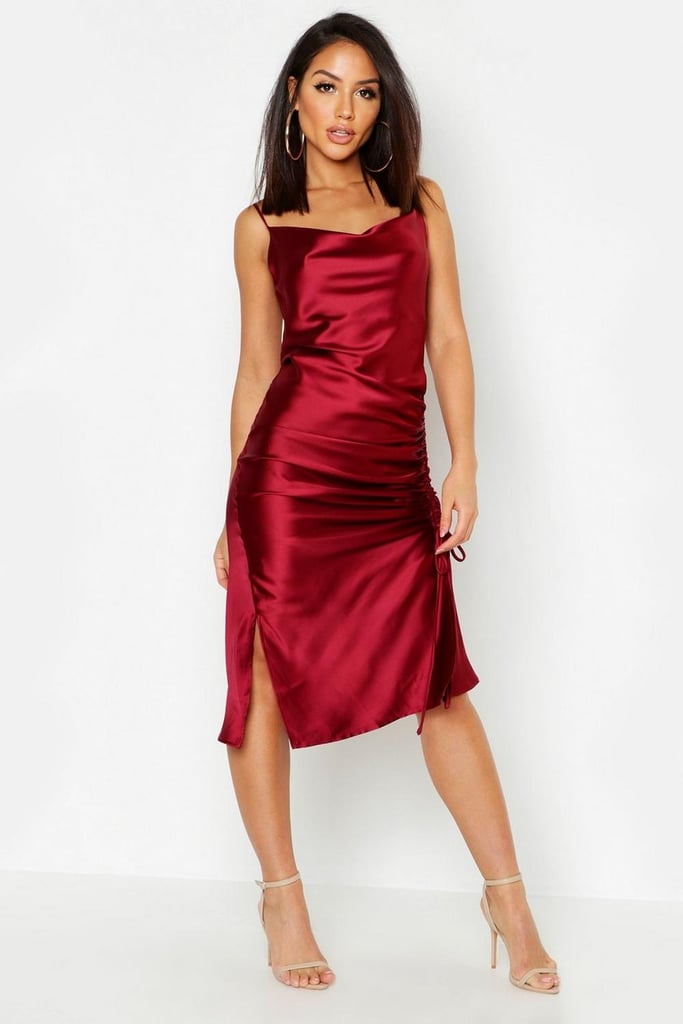 Boohoo Satin Ruched Side Dress Amal Clooney Red Slip
