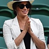 A Black Tank Top, Blue Jeans, Striped White Blazer, and A Fedora at the 2019 Wimbledon Championship