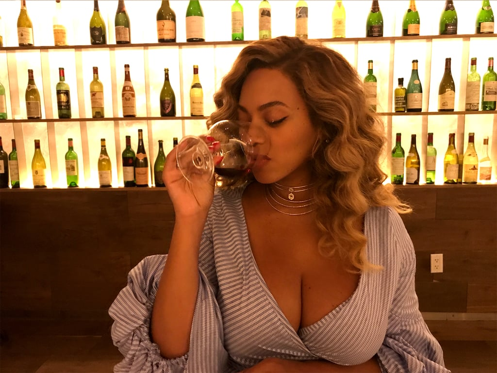 "Beyoncé gave birth to twins Rumi and Sir Carter on June 13, and we've been seeing a lot more of her lately. Following her sushi date with husband JAY-Z on Wednesday night, Beyoncé shared a series of cleavage-baring snaps on her website on Friday. In one of the shots, Queen Bey is shown drinking a glass of red wine at what looks like a restaurant, but her low-cut dress really makes it hard to focus on anything but her assets. Along with the photo, Beyoncé also included a video montage of her selfies on Instagram for us to enjoy. We must say, Beyoncé is looking good these days, but then again, when has she ever not?      Related:                                                                                                           The Name ""Rumi"" Actually Has a Sweet Connection to Blue Ivy"