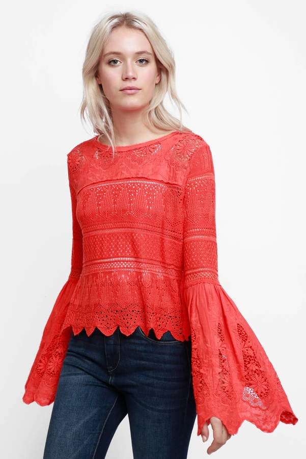 e7448713cb3bce Free People Once Upon A Time Lace Bell Sleeve Top