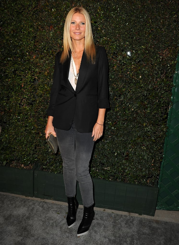 Gwyneth put a polished spin on menswear, donning a classic black blazer with ombré denim and black and white boots, all by Stella McCartney, at a party in West Hollywood.
