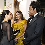 Pictured: Meghan Markle, Beyoncé, and JAY-Z at The Lion King premiere in London.