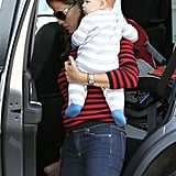Jennifer Garner and Samuel Affleck coordinated in stripes.