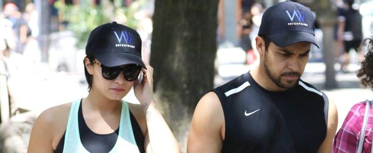 Cute Couple Demi Lovato and Wilmer Valderrama Take a Stroll With Her Pretty Pooch