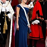 A One-Shouldered Ruched Blue Gown