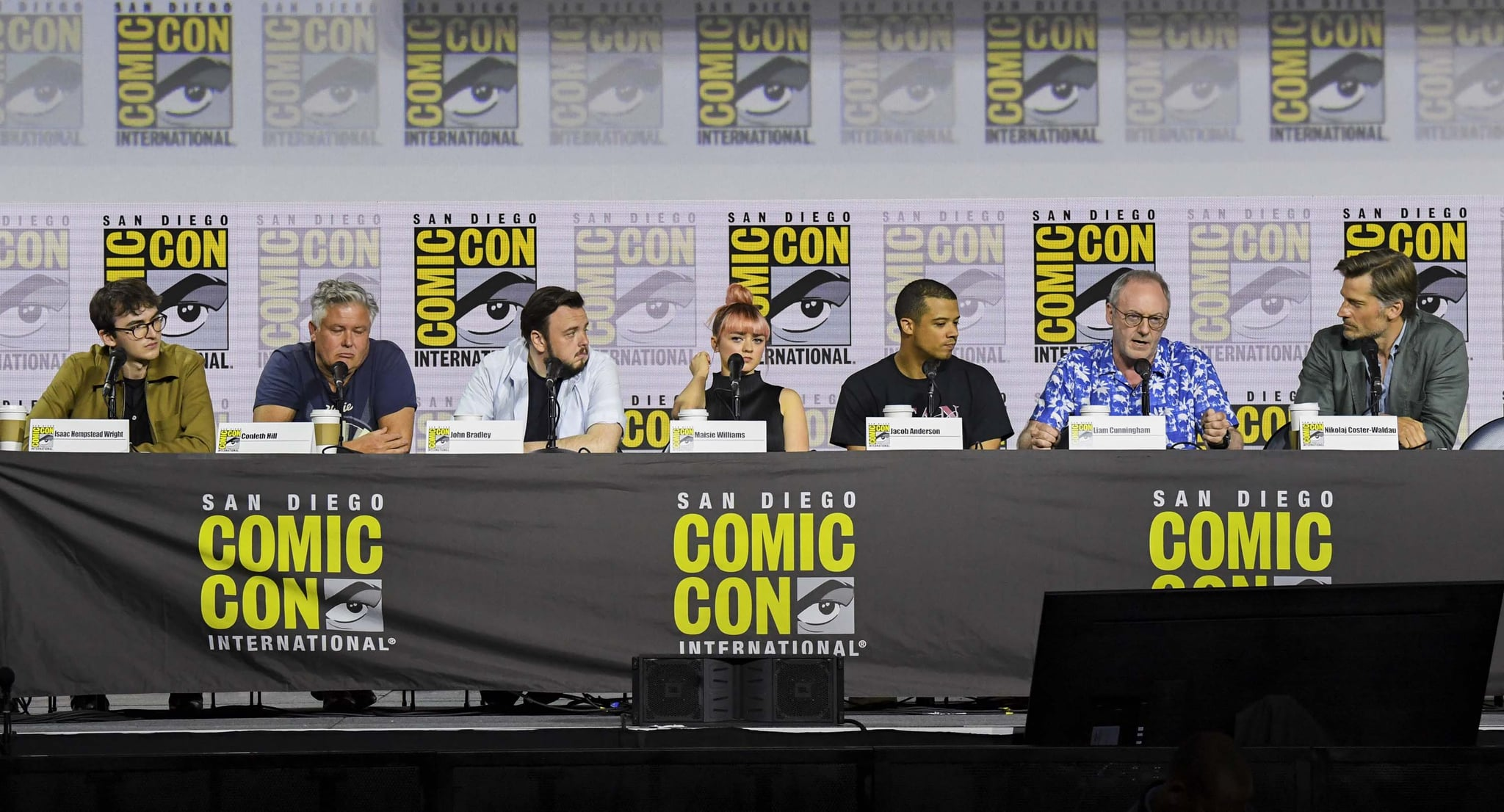 SAN DIEGO, CALIFORNIA - JULY 19: Liam Cunningham, Conleth Hill, Isaac Hempstead, Isaac Hempstead, Maisie Williams, Nikolaj Coster-Waldau, and Jacob Anderson at