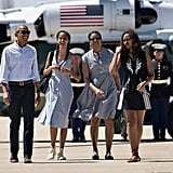 After a weekend trip to Yosemite National Park in June, the whole Obama family hit this airport's runway looking like a magazine catalogue.