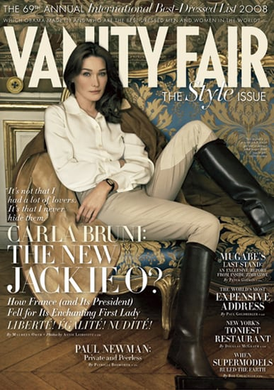 Photo of Carla Bruni Sarkozy on Vanity Fair Cover. Is she the new Jackie Onassis?