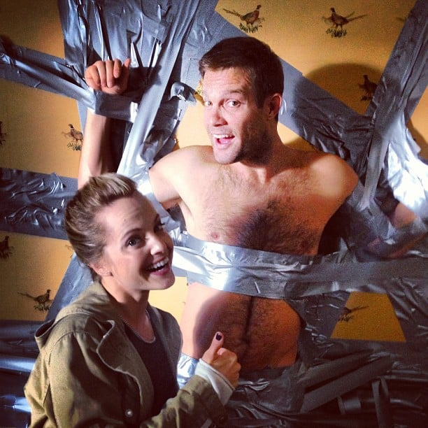 "According to Josh Hopkins, Mena Suvari ""won a bet"" while Geoff Stults lost one. Source: Instagram user mrjoshhopkins"