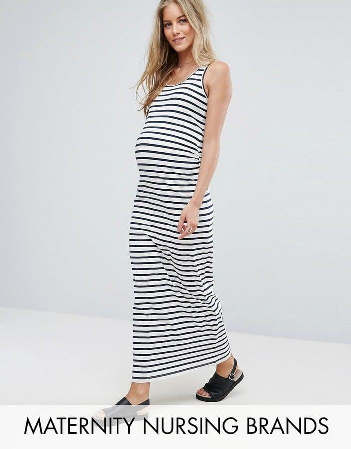 2b9bc88d5c2e2 Mama Licious Organic Cotton Striped Bodycon Maxi Dress | Maternity ...