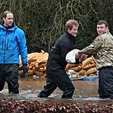 Will and Harry Volunteered to Help Flood Victims in Datchet, England