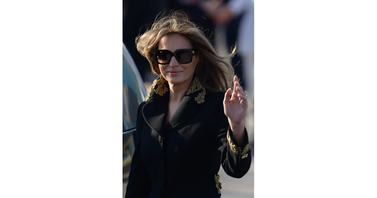 264119f3762d9 Melania wore the same Gucci pair with an embroidered coat for arrival