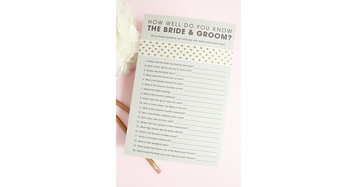 graphic regarding Free Printable Bridal Shower Games How Well Do You Know the Bride referred to as How Perfectly Do Oneself Realize the Bride and Groom?\