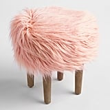 Blush Flokati Stool ($80)