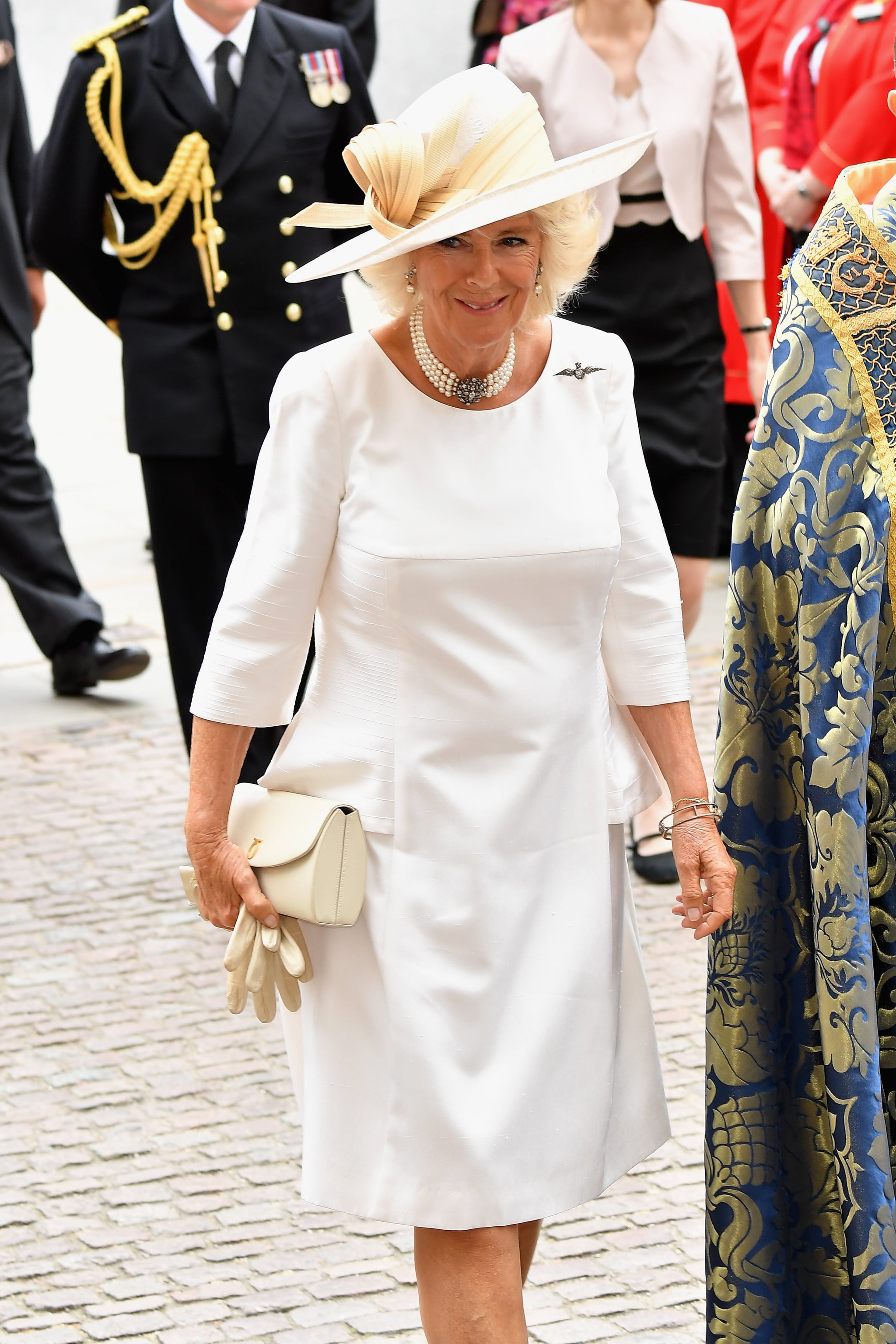 LONDON, ENGLAND - JULY 10:  Camilla, Duchess of Cornwall attends as members of the Royal Family attend events to mark the centenary of the RAF on July 10, 2018 in London, England.  (Photo by Jeff Spicer/Getty Images)