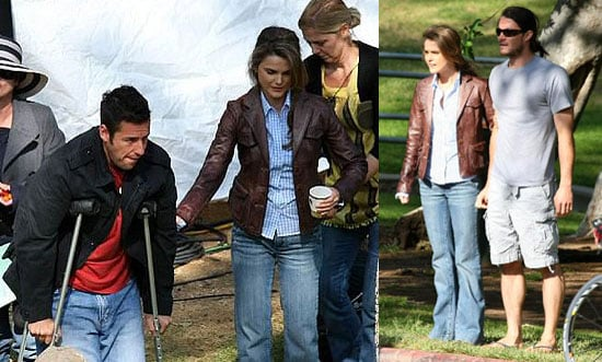 Keri Russell and Adam Sandler on the Set of Bedtime Stories