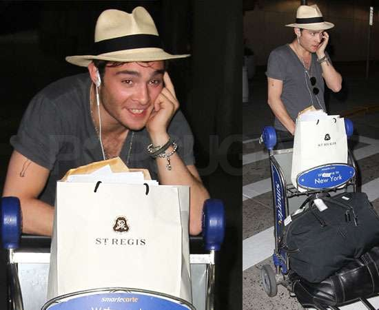 Pictures of Ed Westwick at JFK