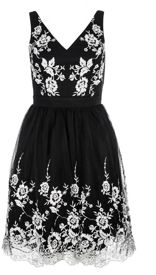 Quiz black lace flower embroidered prom dress (£60)