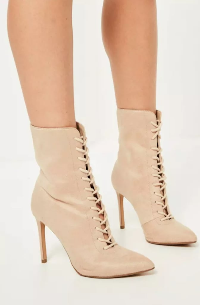 Missguided Nude Lace-Up Ankle Boots