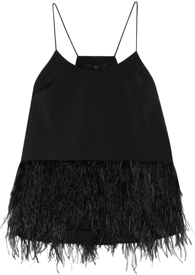 Tibi Feather-Embellished Stretch-Faille Camisole ($425)