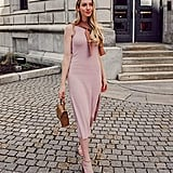 The Drop Gabriela High Neck Cut-In A-Line Side Slit Maxi Sweater Dress