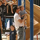 Marky Mark and Son Michael Keep Their Chins Up