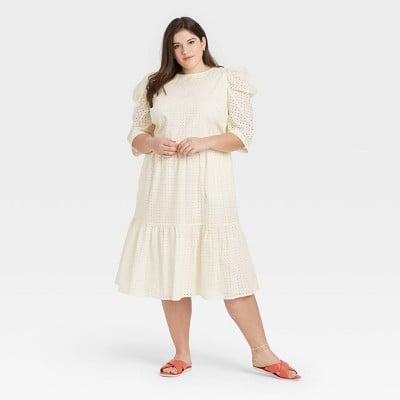 A New Day Elbow Sleeve Eyelet Dress