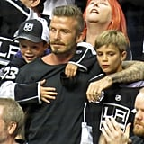 David Beckham was surrounded by his sons Cruz Beckham and Romeo Beckham at the LA Kings Stanley Cup final game in LA.