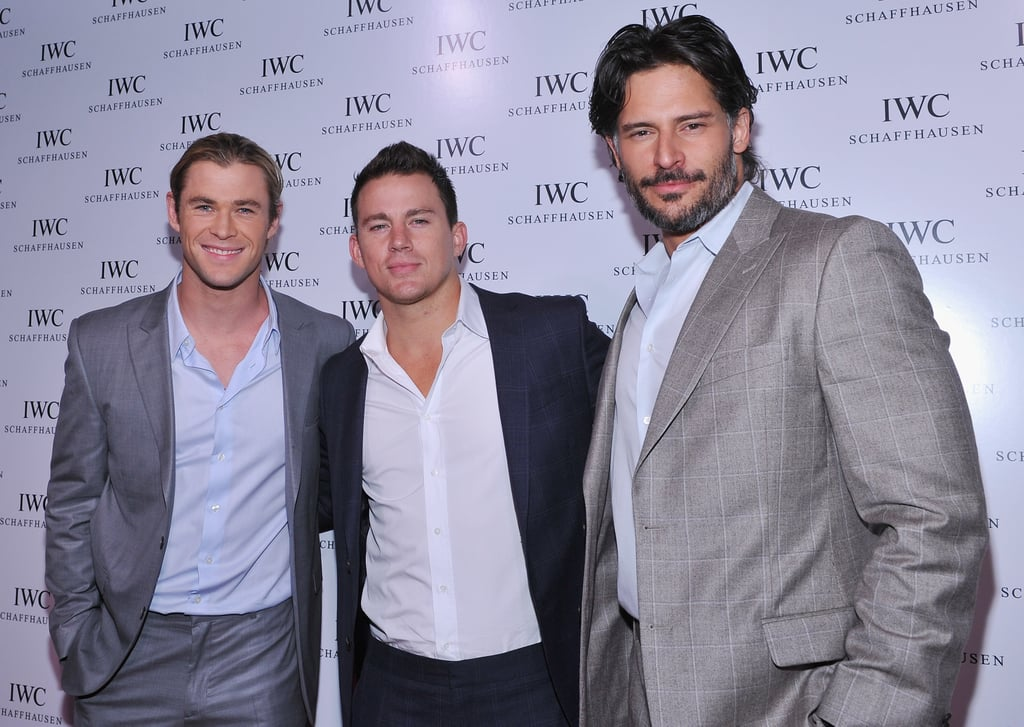 Chris Hemsworth, Channing Tatum, and Joe Manganiello posed together.
