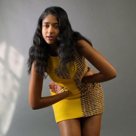 Never Have I Ever's Devi Models Heart Tweed Dress