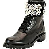 Rene Caovilla Pearlescent Embellished Combat Boot