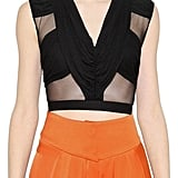 Balmain Cropped Tulle & Jersey Top