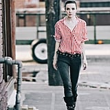 Wear Your Lightweight Striped Shirt With Dark Jeans and Edgy Black Accessories