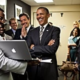 """In April 2012, President Obama cracked up alongside Jimmy Fallon while talking to the producers of Late Night With Jimmy Fallon about the pair's """"Slow Jam the News"""" segment. Source: Flickr user The White House"""