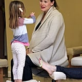 Jen enjoyed her time at the salon with her girls.