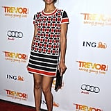 Zoe Saldana opted for a geometric-print minidress at Trevor Live.