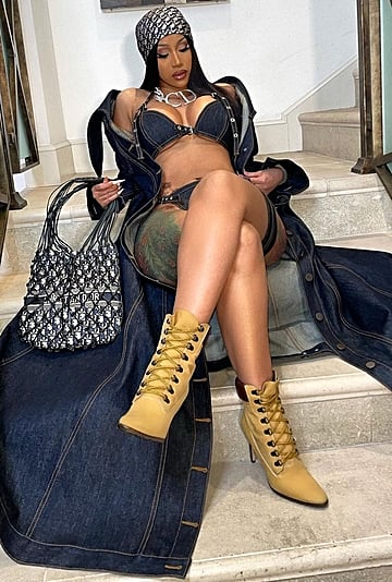 Cardi B Wears a Denim Bikini and Vintage Dior on Instagram
