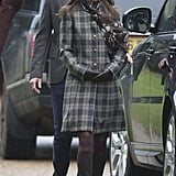 Pippa Middleton also attended the church service on Christmas Day in 2016, opting for a plaid coat, a floral scarf, and brown knee-high boots.