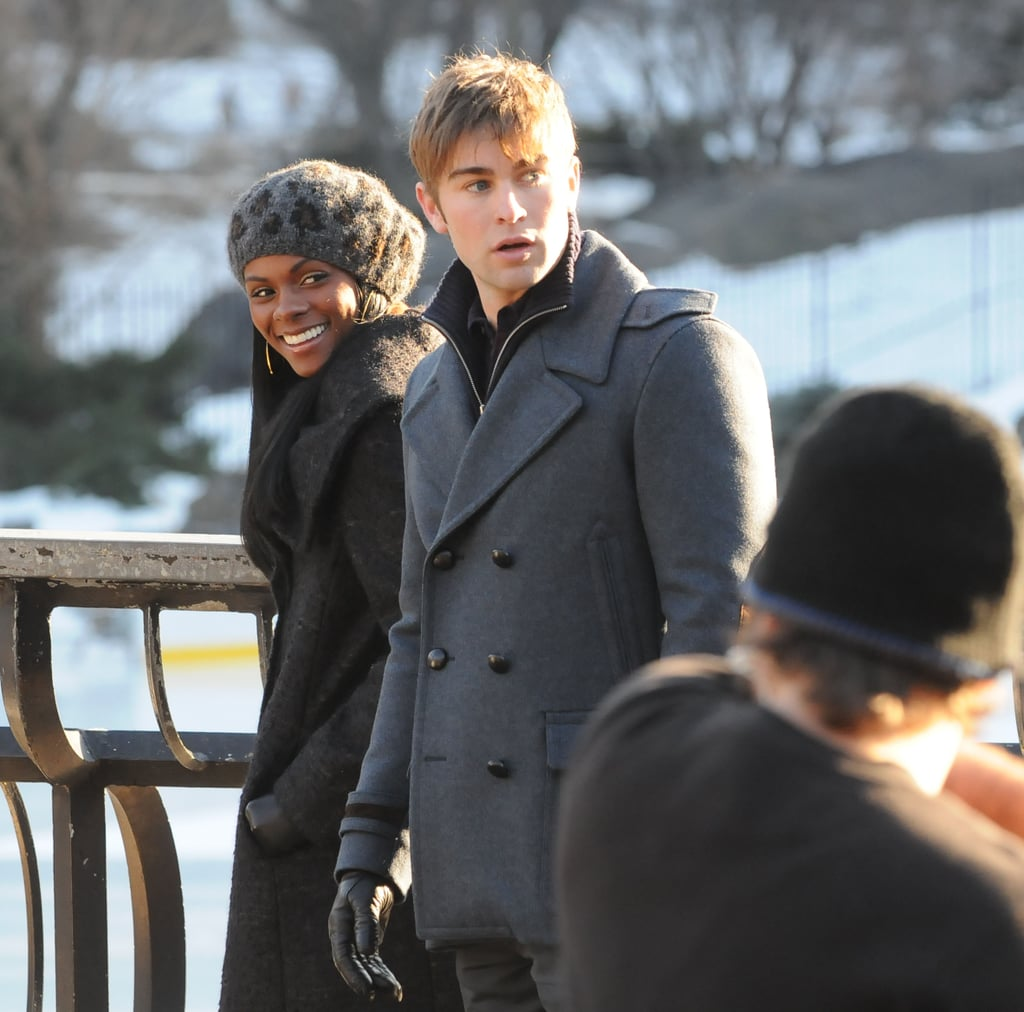 Pictures of Chace Crawford Filming Gossip Girl with Tika Sumpter