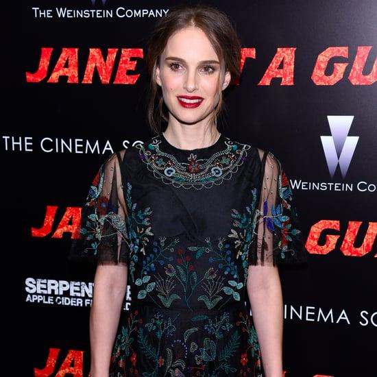 Natalie Portman in Black Valentino Gown